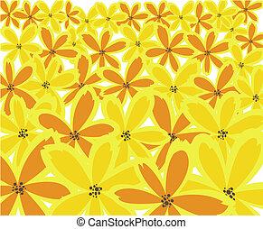 floral, gele achtergrond