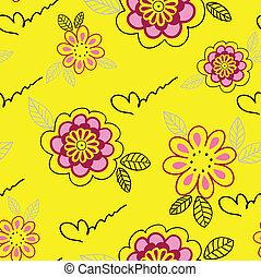 floral, gele, seamless, achtergrond