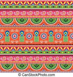 floral, gente, camión, -, indio, loto, patrón, camiones, vívido, paquistaní, arte, seamless, vector, diseño, flores, formas, resumen, floral, tintineo, ornamento