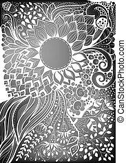 floral, getrokken, kaart hand