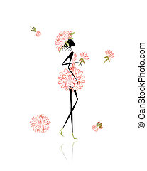 Floral girl for your design