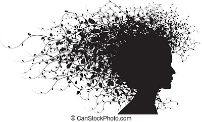 floral, girl, silhouette