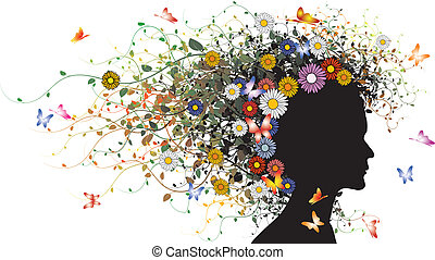 Floral girl silhouette