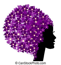 Floral girl silhouette with flowers