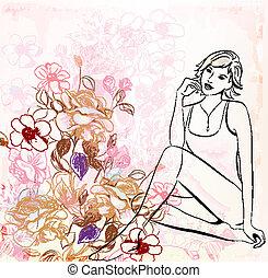 floral, girl, sur, fond