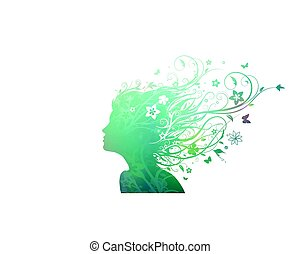 Floral girl - Vector illustration of abstract young girl...