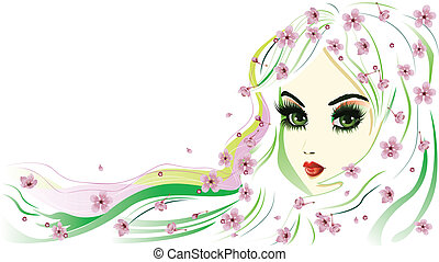 Floral Girl with White Hair