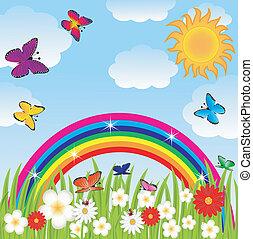 floral glade, butterflies,rainbow
