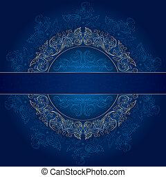 Floral gold frame with vintage patterns on blue background
