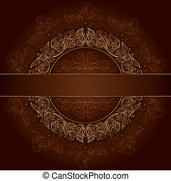 Floral gold frame with vintage patterns on brown background