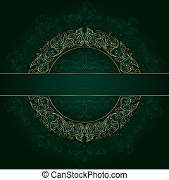 Floral gold frame with vintage patterns on green background