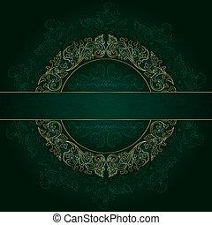 Floral gold frame with vintage patterns on green background