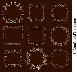 floral gold frames - vector set