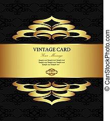 Floral golden vintage card