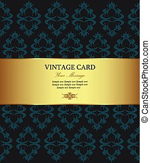 Floral golden vintage card