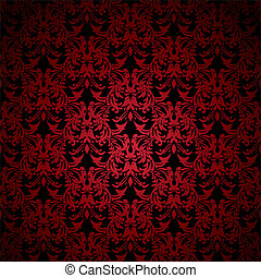 Red and black floral inspired background that seamlessly tiles