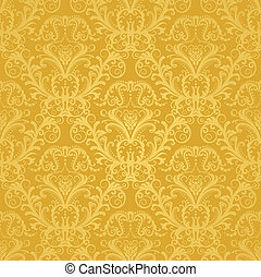 floral, gouden, behang, luxe