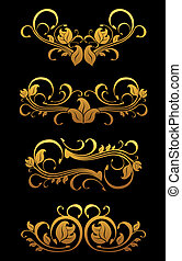 floral, gouden, communie, ouderwetse