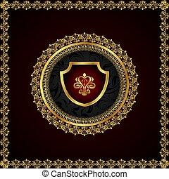 floral, gouden, frame, communie, heraldisch