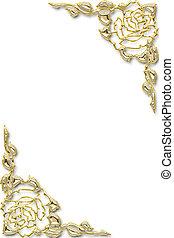 floral, gouden, frame