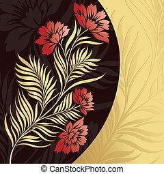 floral, gouden, vector, achtergrond