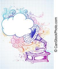 floral, gramophone, abstratos, fundo