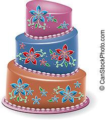 floral, grand, vecteur, gâteau