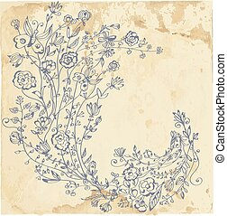 Floral graphic element on the paper texture