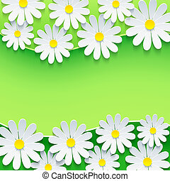 Floral green background, frame with 3d chamomile flower