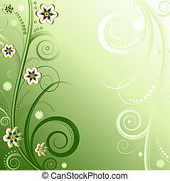 Floral green background (vector)