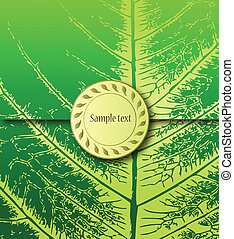 Floral green Background with Label. Vector