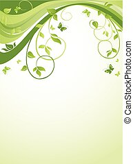 Floral green banner
