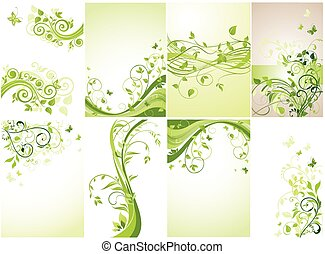 Floral green banners.Set