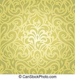 Floral green vintage wallpaper