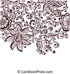 Floral greeting background hand drawn card