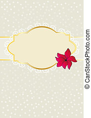 Floral greeting card design with blank cartouche