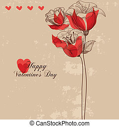 Floral greeting card, Valentine's card