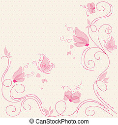 Vector pink floral greeting card