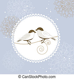 Floral greeting card with bird