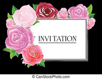 Floral greeting card with roses