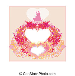 Floral greeting card with silhouette of romantic dancing couple
