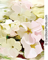 Floral greeting card with stylized white petunia on grunge...