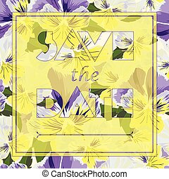 Floral greeting card with text Save the date in realistic hand-drawn style Vector illustration.