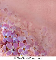 Floral greeting card with violet small flowers on hazed background in pastel colors