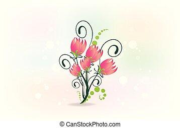 Floral greetings card vintage logo