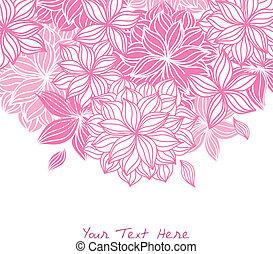 floral, griffonnage, arrière-plan rose