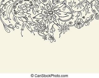 floral, griffonnage, fond