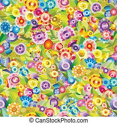 floral, griffonnage, vecteur, seamless, modèle