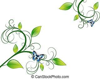 floral, groene, frame, blad