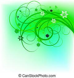 floral, groene, ontwerp